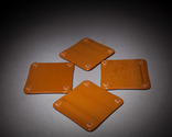 Red maple leaf, brown and white square fused glass coaster set, detail
