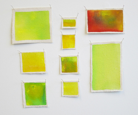 Lisa Tubach Small Studies & Experiments Gouache on canvas, pins