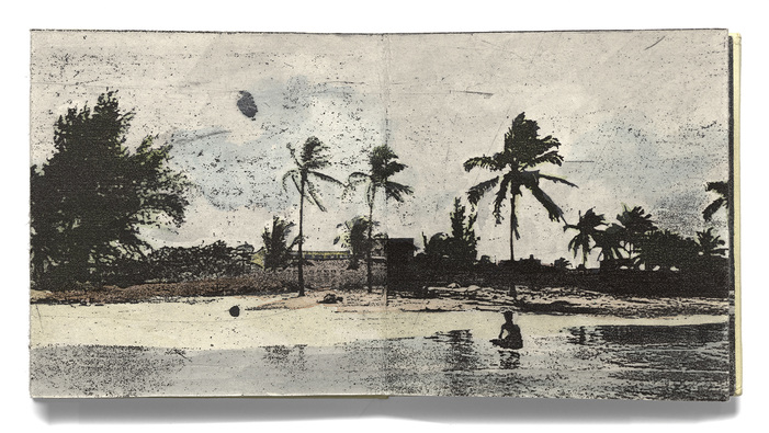 Liz Chalfin guanabo beach book accordion book with hand colored etching