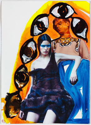 LIZ MARKUS FASHION COLLAGES  collage and paint on paper