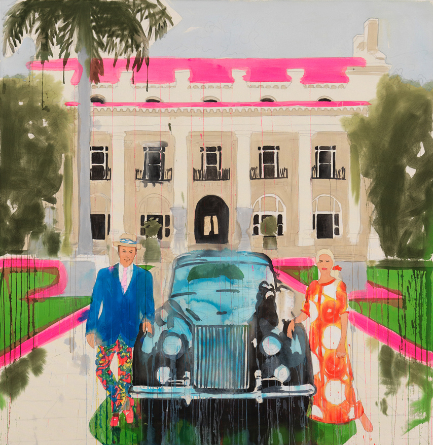 PORTRAITS, INTERIORS, AND LANDSCAPES Mr. and Mrs. Donald Leas with Rolls Royce