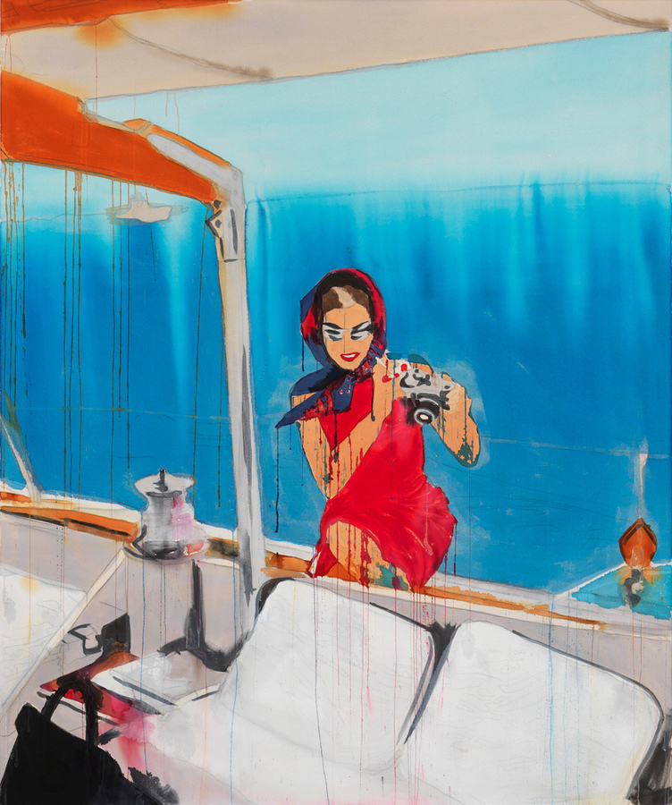 PORTRAITS, INTERIORS, AND LANDSCAPES Drip Mix Jackie on Boat