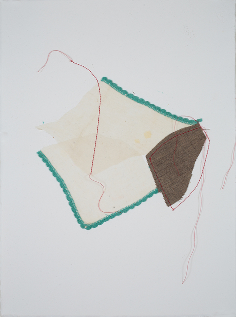 Lori Glavin TEXTILES found fabrics and thread on paper
