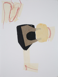 Lori Glavin MIXED MEDIA fabric, found papers, thread on paper
