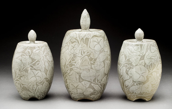 Lori Rollason Ceramics 2014 White Stoneware with White Slip Sgraffito, Reduction Fired