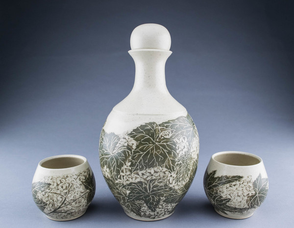 Lori Rollason Ceramics Sgraffito Spirit Decanters and Sippers Sets