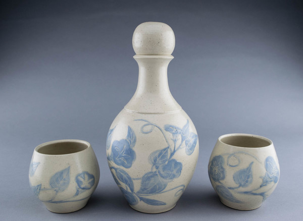 Lori Rollason Ceramics Sgraffito Spirit Decanters and Sippers Sets Midrange Stoneware with pale blue sgraffito