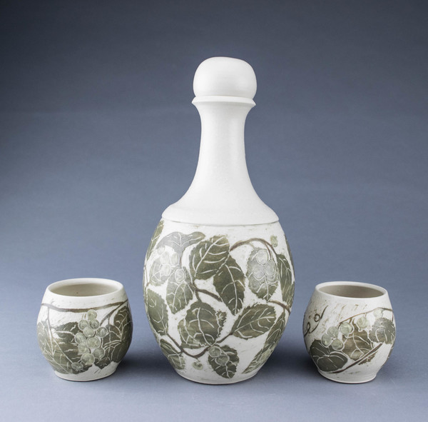Lori Rollason Ceramics Sgraffito Spirit Decanters and Sippers Sets Midrange Stoneware with green sgraffito