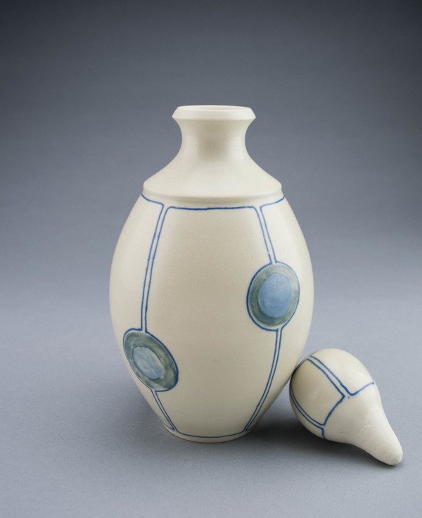 Circle and Line Spirit Decanters and Sippers Midrange Stoneware with painted and inlaid colored slips