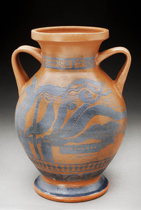 Lori Rollason Ceramics 2015 Earthenware (What Would Heracles Do?) Earthenware, Black Slip Sgraffito, Clear Glaze