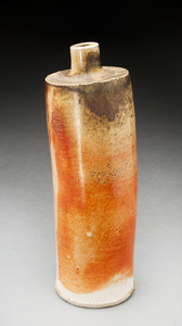 Lori Rollason Ceramics Wood Fired Work  White and brown stoneware blend, shino glaze on parts, ash and fire