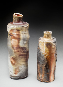 Lori Rollason Ceramics Wood Fired Work  Wheel thrown, White and brown stoneware blend