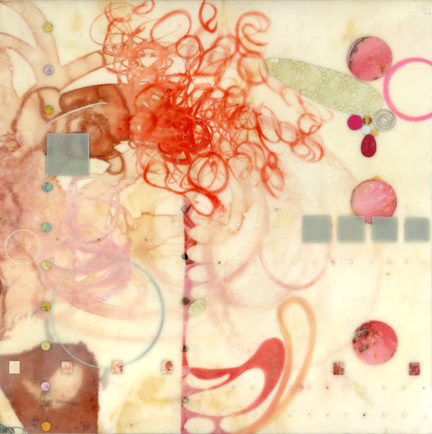 Lorraine Glessner Archived Paintings encaustic, mixed media on branded silk on panel