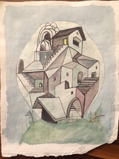Louis Brawley India House  Watercolour on handmade Indian Paper