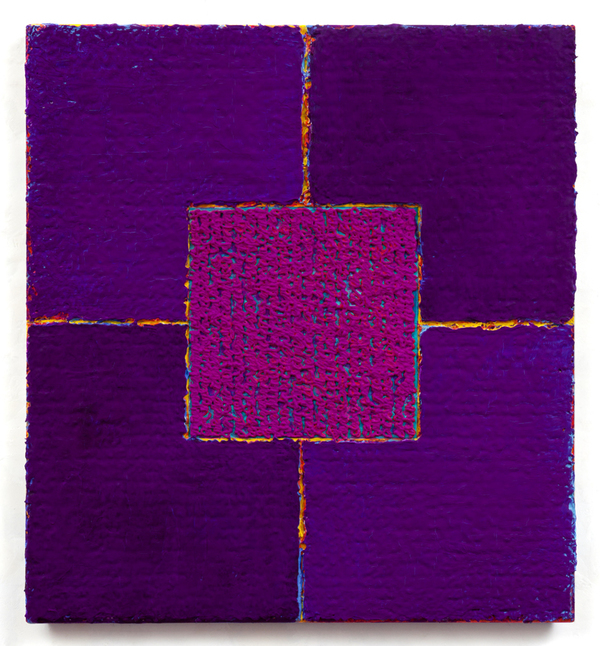 Louise P. Sloane Color/Square/Texture Acrylic Paints and Pastes on Bent aluminum Panel