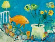 Louise Weinberg   Games Fish Play OIl and mixed media on polymer mounted on canvas