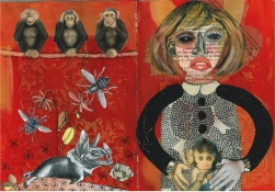 Jane Lubin Altered Books Acrylic/Collage