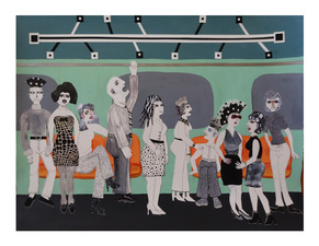 Jane Lubin Subway: If You See Something, Say Something Acrylic/Colage