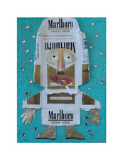 Jane Lubin CigarettePack Collages Acrylic/collage/pumice, rhinestones on wood