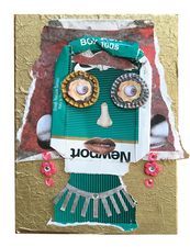 Jane Lubin CigarettePack Collages Acrylic/Collage on Panel