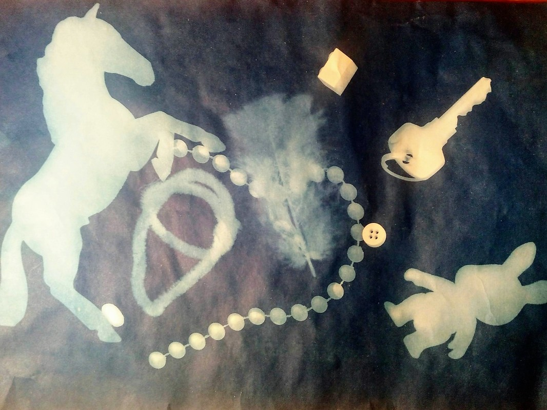 Education Practice Cyanotypes with 2-4 year olds - for the love of small stuff
