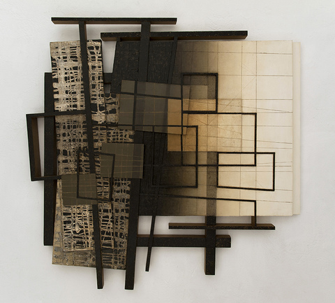 LUCY MAKI Highlights  oil on aluminum plate, wood, canvas over shaped support