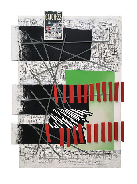 Mid-size Constructions oil, acrylic, ink on aluminum plate, wood on canvas over shaped panel