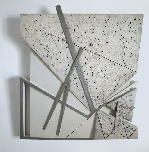 LUCY MAKI Mid-size Constructions oil on wood, gatorboard, aluminum plate on canvas over panel
