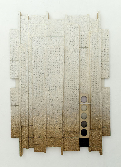 LUCY MAKI Mid-size Constructions oil on canvas, wood, aluminum plate over shaped support