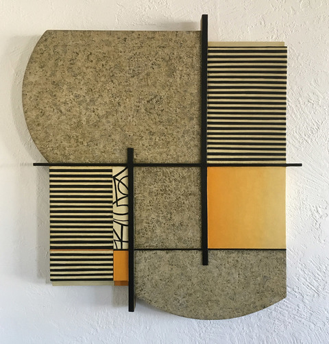 LUCY MAKI Mid-size Constructions Oilon canvas,wood over shaped panel