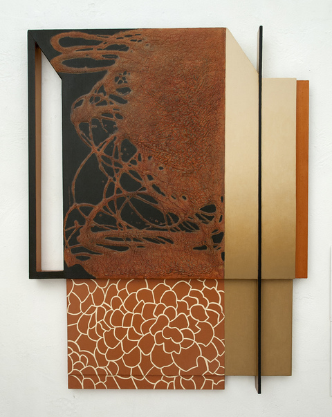 LUCY MAKI Mid-size Constructions Oil on canvas, wood over shaped panel