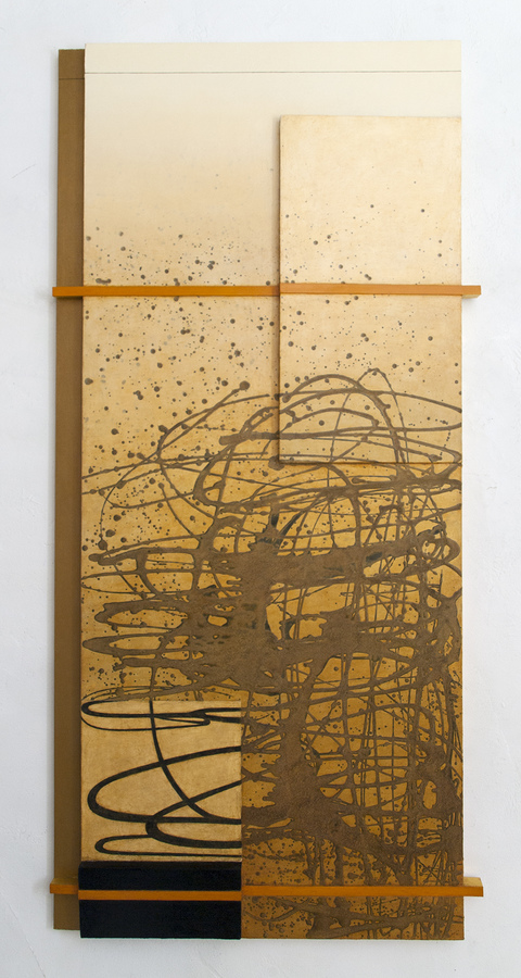 LUCY MAKI Mid-size Constructions Oil, wax on wood and canvas over panel