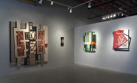 LUCY MAKI Double Take Installation 2018 Left to Right:  Abstract Rhythms, Lines of Direction (sculpture),  Bandwidth, Encompass