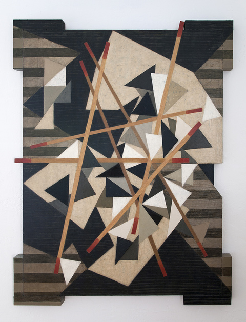 Mid-size Constructions oil on wood, aluminum plate and canvas over shaped support