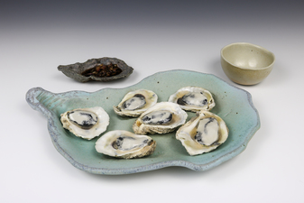 Lucy W. Scanlon 2015-2018 Marine Motif Tableware White stoneware, Casting Slip for cup, and Glaze
