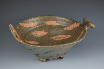Lucy W. Scanlon  2015-2018 Other Tableware, including Dragonfly Motif  Brown stoneware, slip with oxide or stain, and glaze.
