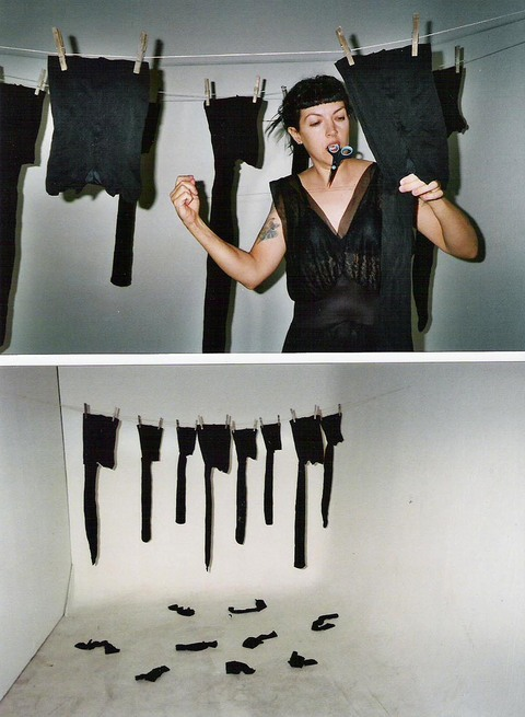 lu hanna   Installation/Performance Leotards, clothesline & pins, sewing tools