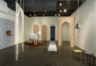Luisa Caldwell Installations & Sculpture instllation with fiberglass cow, silk-screened paper, glass beads,
