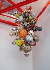 Luisa Caldwell Public Commissions globes, soccer balls, fruit stickers, steel, etc