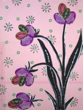 Luisa Caldwell Works on paper fruti stickers, acrylic paint on found paper