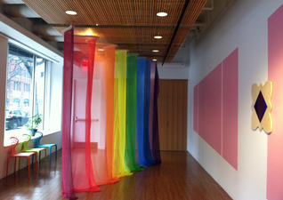 Luisa Caldwell Installations & Sculpture hand painted chiffon, wood, plexi, house paint