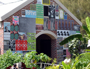 Luisa Caldwell Installations & Sculpture Art ephemera, wheat paste on existing brick structure