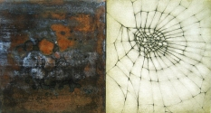 "Luisa Sartori go to ""Lines & Weather"" images Oil, copper leaf, graphite on wood"
