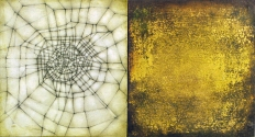 "Luisa Sartori go to ""Lines & Weather"" images Oil, gold leaf, graphite,on wood"