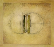 "Luisa Sartori go to ""Around the Center"" images Ink, oil, graphite on paper on wood"