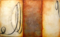 "Luisa Sartori go to ""Itinera"" images Gesso, oil, silver leaf on wood"