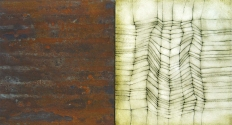 "Luisa Sartori go to ""Lines & Weather"" images oil, silver leaf, iron dust, graphite on wood"