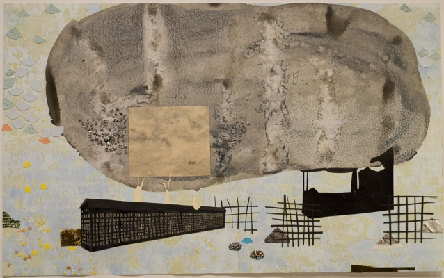 Lydia Diemer Profits and Castaways lithography, collage, drawing, and tinsel