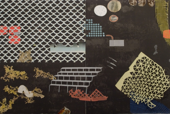 Lydia Diemer Profits and Castaways collage, lithography, monotype, and found imagery