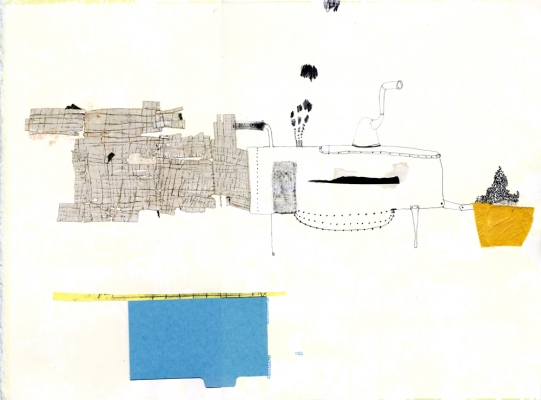 Lydia Diemer Pedro's Backyard, a monoprint suite monoprint: lithography, collage, and drawing